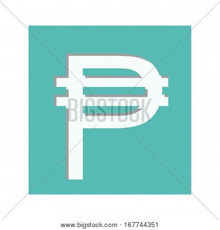 blue aquamarine square with currency symbol of philippine vector illustration