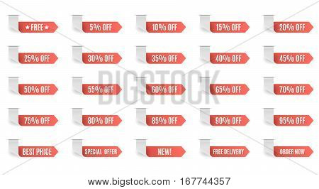 Red discount label set vector for design. 5 10 15 20 25 30 35 40 45 50 55 60 65 70 75 80 85 90 95 percent.