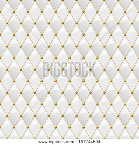 Seamless White Leather Texture With Gold Metal Details Vector Background Golden Button