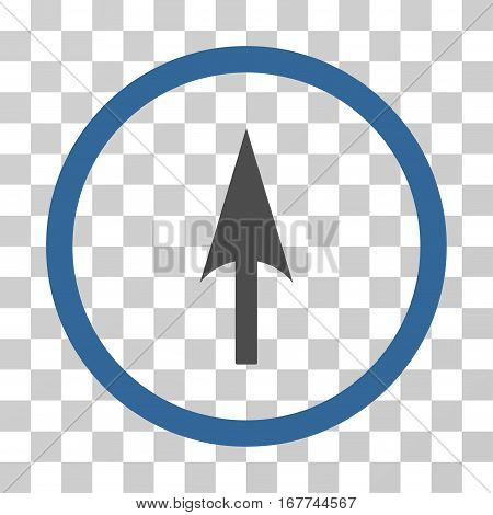 Arrow Axis Y rounded icon. Vector illustration style is flat iconic bicolor symbol inside a circle, cobalt and gray colors, transparent background. Designed for web and software interfaces.