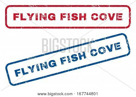 Flying Fish Cove text rubber seal stamp watermarks. Vector style is blue and red ink tag inside rounded rectangular banner. Grunge design and dirty texture. Blue and red emblems.
