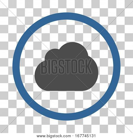 Cloud rounded icon. Vector illustration style is flat iconic bicolor symbol inside a circle, cobalt and gray colors, transparent background. Designed for web and software interfaces.