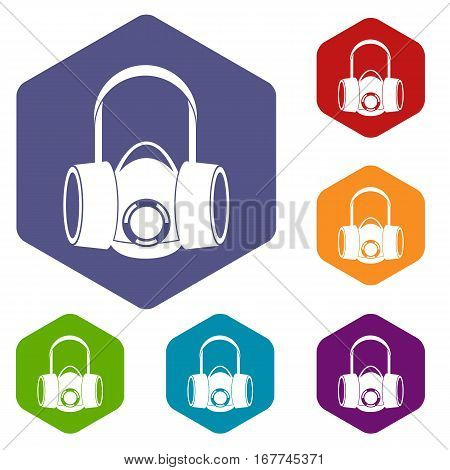 Respirator icons set rhombus in different colors isolated on white background