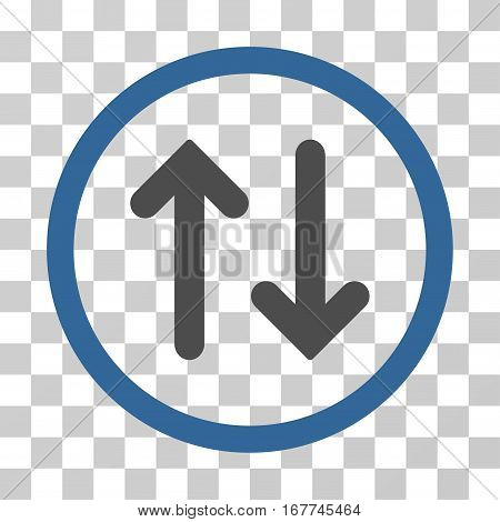 Flip rounded icon. Vector illustration style is flat iconic bicolor symbol inside a circle, cobalt and gray colors, transparent background. Designed for web and software interfaces.