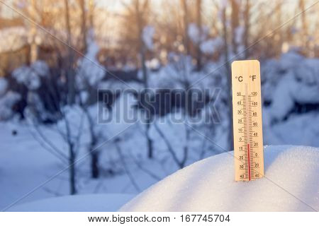 Thermometer in the snow on a background of trees in shadow but a bright Sunny day