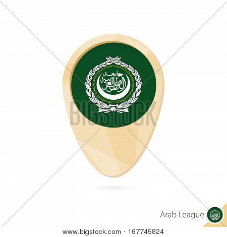 Map Pointer With Flag Of Arab League. Orange Abstract Map Icon.