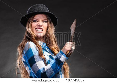 Angry Strong Woman In Hat Holding Machete.