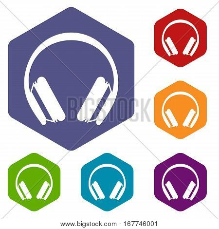 Protective headphones icons set rhombus in different colors isolated on white background