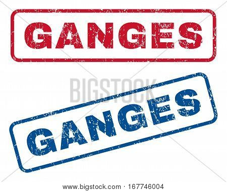 Ganges text rubber seal stamp watermarks. Vector style is blue and red ink tag inside rounded rectangular shape. Grunge design and dirty texture. Blue and red emblems.