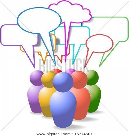 Game piece style symbol people talk in colorful social media copy space speech bubbles
