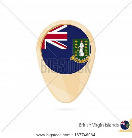 Map Pointer With Flag Of British Virgin Islands. Orange Abstract Map Icon.