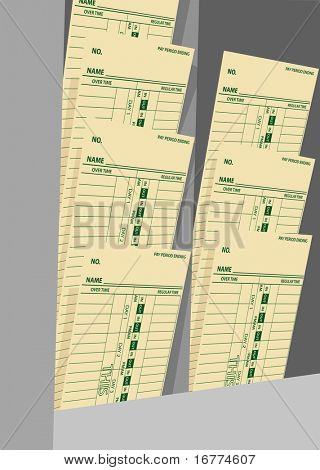 Time cards in a rack for business payroll to pay day hourly wage job