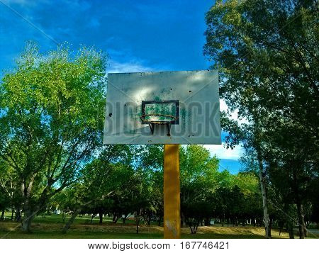 Front view of basketball hoop as a nice place to recreate and play sport