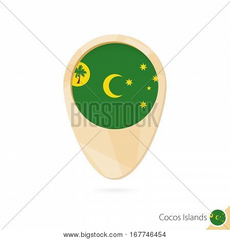 Map Pointer With Flag Of Cocos Islands. Orange Abstract Map Icon.