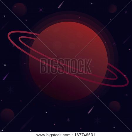 vector illustration planet with the sphere of space around a star satellites and comets.