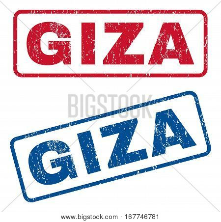 Giza text rubber seal stamp watermarks. Vector style is blue and red ink caption inside rounded rectangular banner. Grunge design and scratched texture. Blue and red emblems.