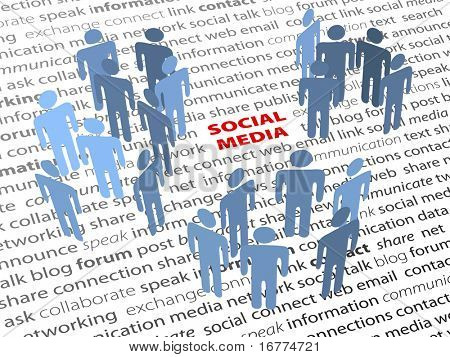 SOCIAL MEDIA people groups network on a page of text background