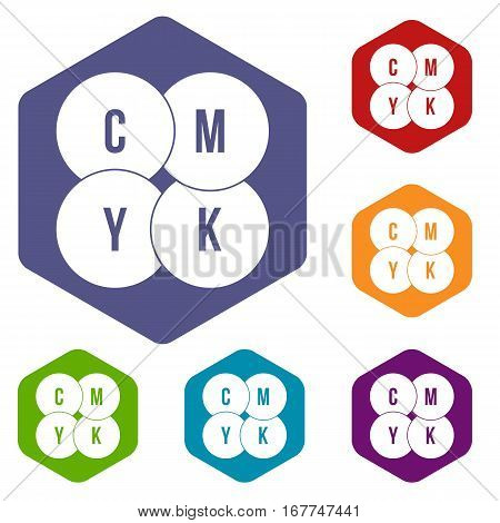 CMYK circles icons set rhombus in different colors isolated on white background