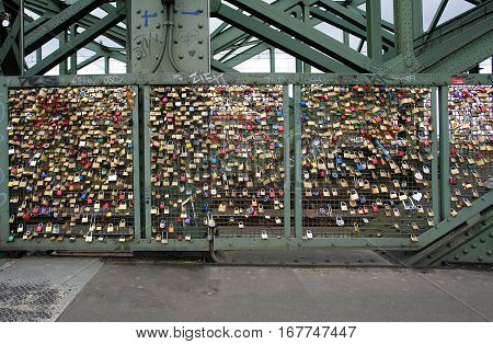 Love locks at the Hohenzollern Bridge in Cologne