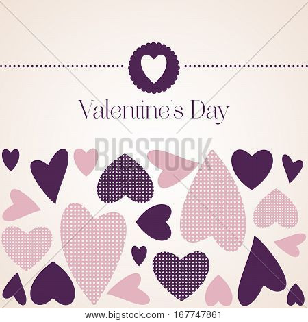 Romantic Red Heart On A Light Beige Background. Vector Illustration To Valentine's Day