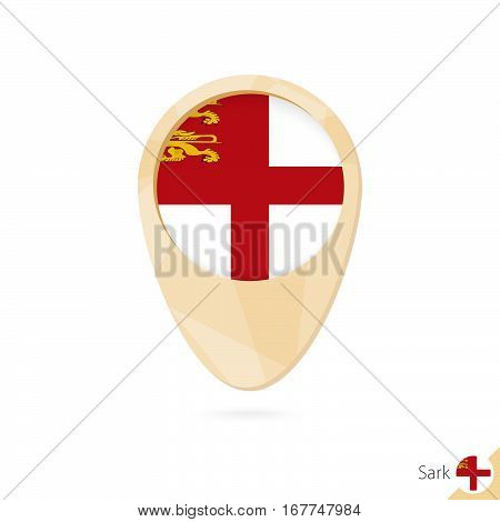 Map Pointer With Flag Of Sark. Orange Abstract Map Icon.