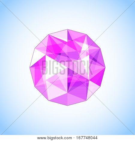 Realistic purple amethyst shaped. Purple Gem vector illustration.