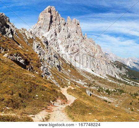 Cima Ambrizzola and Croda da Lago with pathway Alps Dolomites mountains Italy