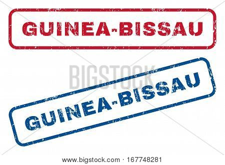 Guinea-Bissau text rubber seal stamp watermarks. Vector style is blue and red ink caption inside rounded rectangular banner. Grunge design and dirty texture. Blue and red signs.