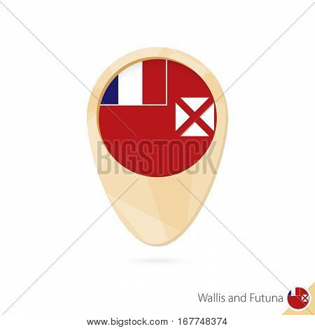 Map Pointer With Flag Of Wallis And Futuna. Orange Abstract Map Icon.
