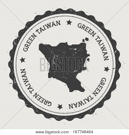 Green Island, Taiwan Sticker. Hipster Round Rubber Stamp With Island Map. Vintage Passport Sign With
