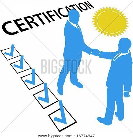Business people are certified and earn Official Certification document and gold seal