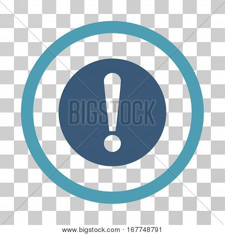 Problem rounded icon. Vector illustration style is flat iconic bicolor symbol inside a circle, cyan and blue colors, transparent background. Designed for web and software interfaces.