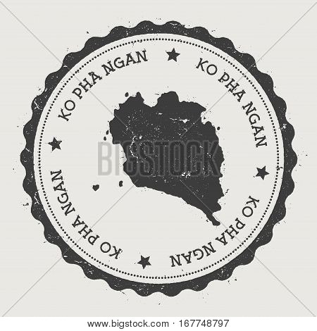Ko Pha Ngan Sticker. Hipster Round Rubber Stamp With Island Map. Vintage Passport Sign With Circular
