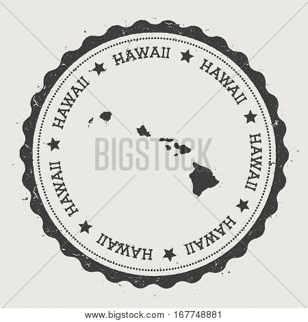 Hawaii Sticker. Hipster Round Rubber Stamp With Island Map. Vintage Passport Sign With Circular Text