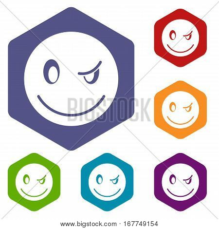 Eyewink emoticon icons set rhombus in different colors isolated on white background