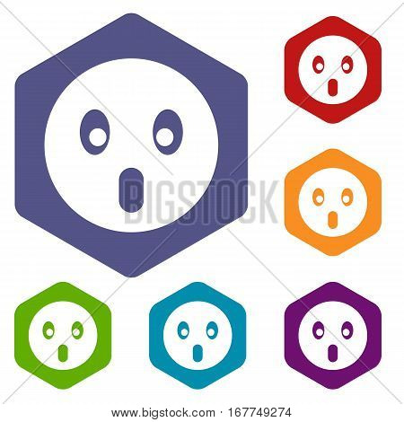 Frightened emoticon icons set rhombus in different colors isolated on white background
