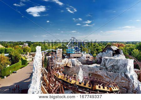 Gardaland, Castelnuovo Del Garda, Italy - September 22, 2016: Gardaland Amusement Park Located In No