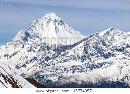 Mount Dhaulagiri view of mount Dhaulagiri from Thorung La pass with beautiful sky round Annapurna circuit trekking trail Nepal