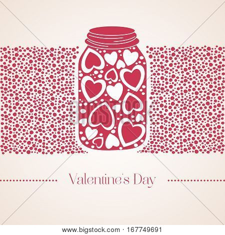 Romantic Red Gummi Candy In The Form Of Heart In A Glass Jar. Vector Illustration To Valentine's Day