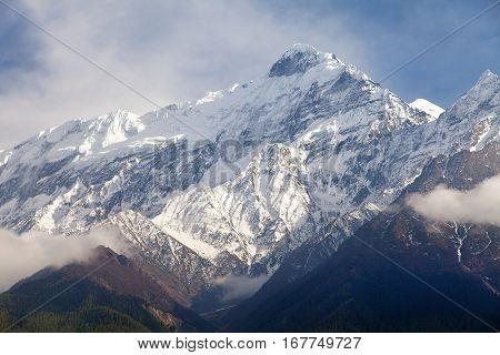 Beautiful mount near Kali Gandaki river round Annapurna circuit trekking trail Nepalese himalayas