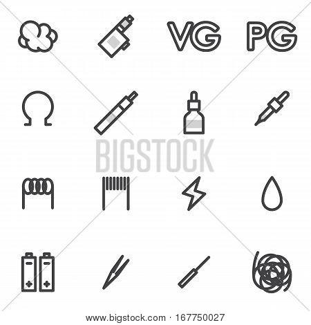 vector icons smoking electronic cigarette liquid smoke, tobacco, mudshtuk, batteries, wipe on a light background.