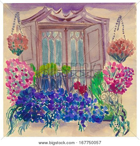 Balcony garden, blossoming flowers, latice, vintage balcony door and facade.  Watercolor postcard.