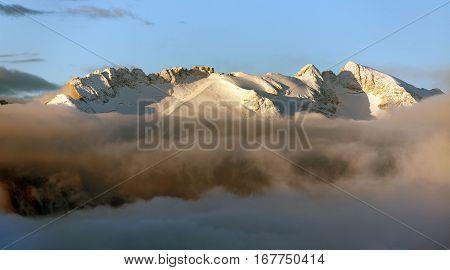 morning panoramic view of mount Marmolada South Tirol Alps Dolomites mountains Italy