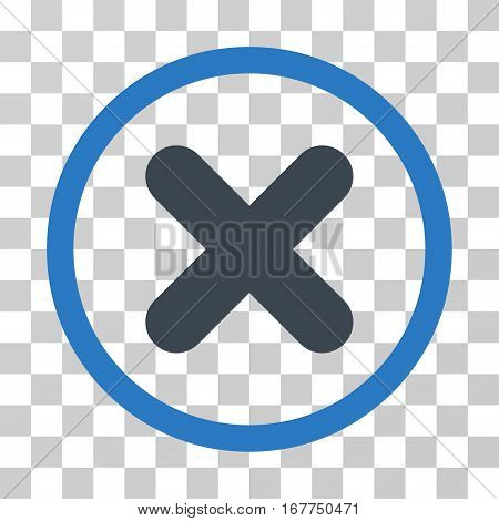 Cancel rounded icon. Vector illustration style is flat iconic bicolor symbol inside a circle, smooth blue colors, transparent background. Designed for web and software interfaces.