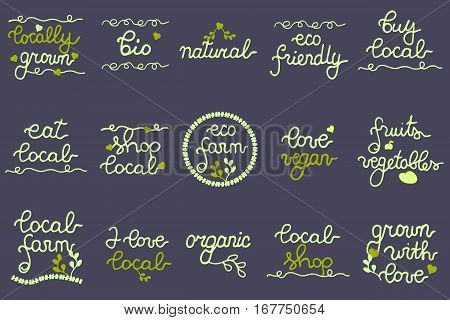 Buy local, Eco Farm, Natural, Local Farm, Organic, Bio, Locally grown, Shop local, Vegan, Fruits and Vegetables. Big Set of eco logo, labels for cafe, farmers market, festival, shop, local marketing.