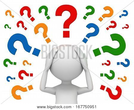 worried man and question marks 3d illustration isolated on white background