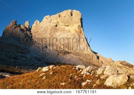 Morning view of mount Beco de Mezodi South Tirol dolomites mountains Italy