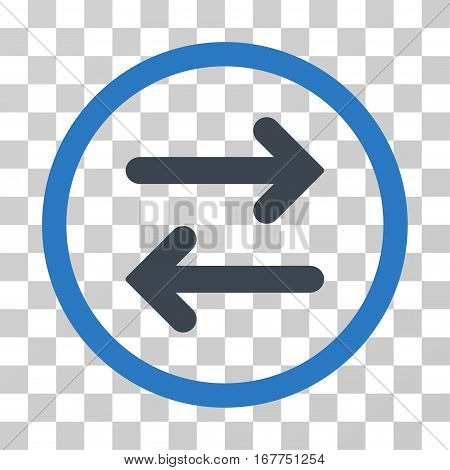 Flip Horizontal rounded icon. Vector illustration style is flat iconic bicolor symbol inside a circle, smooth blue colors, transparent background. Designed for web and software interfaces.