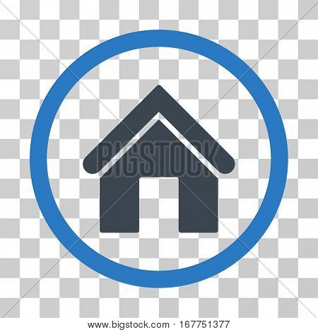 Home rounded icon. Vector illustration style is flat iconic bicolor symbol inside a circle, smooth blue colors, transparent background. Designed for web and software interfaces.