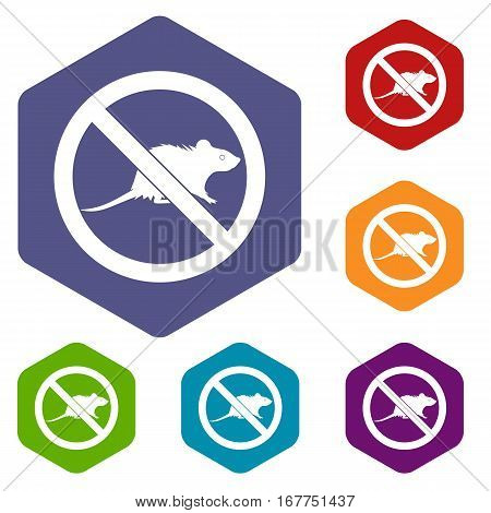 No rats sign icons set rhombus in different colors isolated on white background